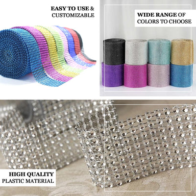 "5""x 10 Yards Silver Diamond Rhinestone Ribbon Wrap Roll"