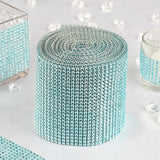 "5""x 10 Yards Turquoise Diamond Rhinestone Ribbon Wrap Roll"