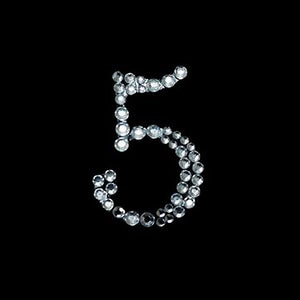 "CAN I HAVE YOUR NUMBER? Stick On-Rhinestone - Clear Number ""5"" 10/pk"