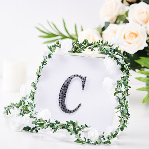"4"" Black Self-Adhesive Rhinestone Letter Stickers, Alphabet Stickers for DIY Crafts - C"