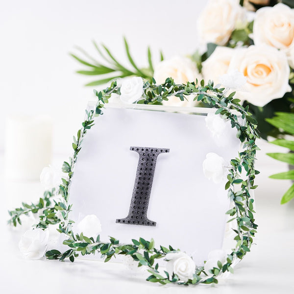 "4"" Black Self-Adhesive Rhinestone Letter Stickers, Alphabet Stickers for DIY Crafts - I"