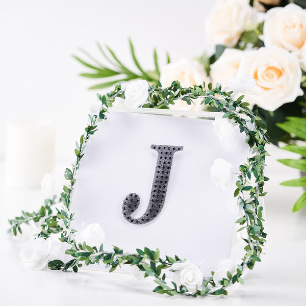 "4"" Black Self-Adhesive Rhinestone Letter Stickers, Alphabet Stickers for DIY Crafts - J"