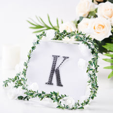 4 inch Black Self-Adhesive Rhinestone Letter Stickers, Alphabet Stickers for DIY Crafts - K