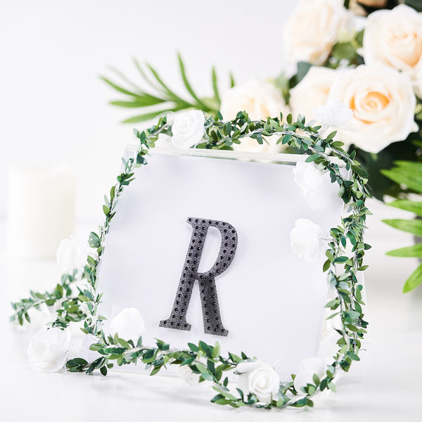 "4"" Black Self-Adhesive Rhinestone Letter Stickers, Alphabet Stickers for DIY Crafts - R"