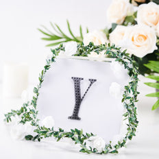 4 inch Black Self-Adhesive Rhinestone Letter Stickers, Alphabet Stickers for DIY Crafts - Y
