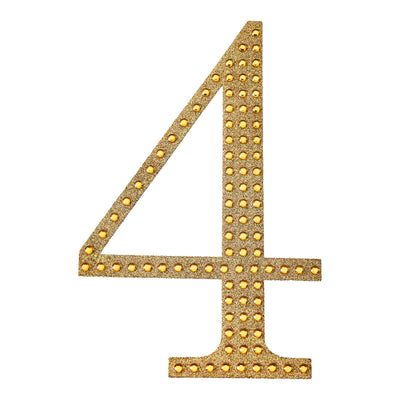 Gold Self-Adhesive Rhinestone Number Stickers for DIY Crafts - 4