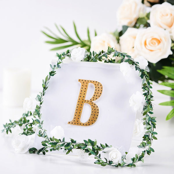 "4"" Gold Self-Adhesive Rhinestone Letter Stickers, Alphabet Stickers for DIY Crafts - B"