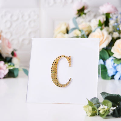 Gold Self-Adhesive Rhinestone Letter Stickers, Alphabet Stickers for DIY Crafts - C