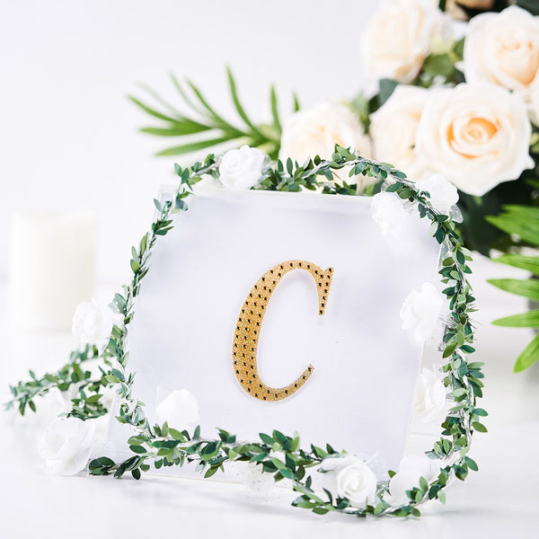 "4"" Gold Self-Adhesive Rhinestone Letter Stickers, Alphabet Stickers for DIY Crafts - C"