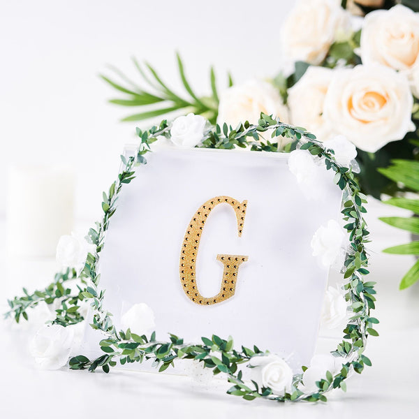 "4"" Gold Self-Adhesive Rhinestone Letter Stickers, Alphabet Stickers for DIY Crafts - G"