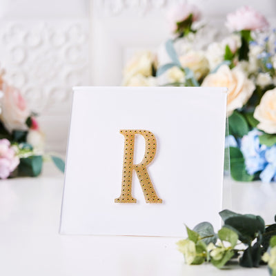 Gold Self-Adhesive Rhinestone Letter Stickers, Alphabet Stickers for DIY Crafts - R