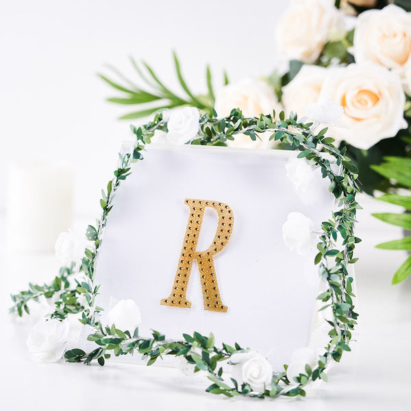 "4"" Gold Self-Adhesive Rhinestone Letter Stickers, Alphabet Stickers for DIY Crafts - R"