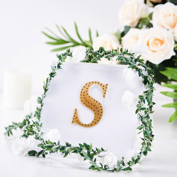 "4"" Gold Self-Adhesive Rhinestone Letter Stickers, Alphabet Stickers for DIY Crafts - S"
