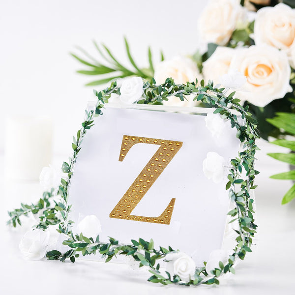 "4"" Gold Self-Adhesive Rhinestone Letter Stickers, Alphabet Stickers for DIY Crafts - Z"