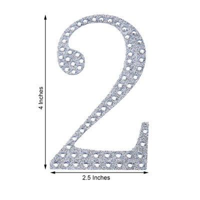 "4"" Silver Self-Adhesive Rhinestone Number Stickers for DIY Crafts - 2"