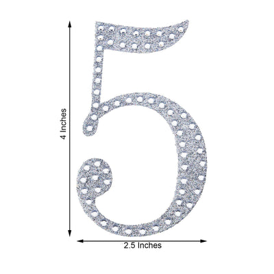 "4"" Silver Self-Adhesive Rhinestone Number Stickers for DIY Crafts - 5"
