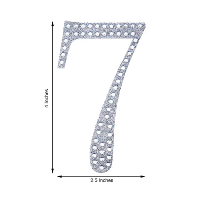 4 inch Silver Self-Adhesive Rhinestone Number Stickers for DIY Crafts - 7