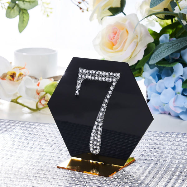 "4"" Silver Self-Adhesive Rhinestone Number Stickers for DIY Crafts - 7"