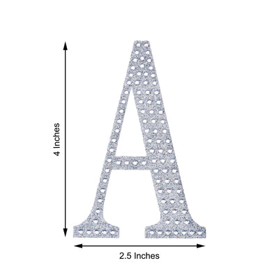 4Inch | Silver Self-Adhesive Rhinestone Letter Stickers, Alphabet Stickers for DIY Crafts - S