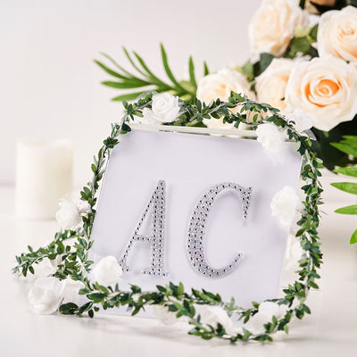 4Inch | Silver Self-Adhesive Rhinestone Letter Stickers, Alphabet Stickers for DIY Crafts - C