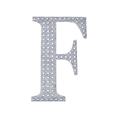 4Inch | Silver Self-Adhesive Rhinestone Letter Stickers, Alphabet Stickers for DIY Crafts - F