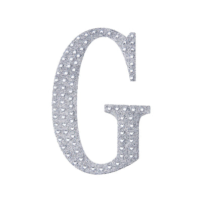 4Inch | Silver Self-Adhesive Rhinestone Letter Stickers, Alphabet Stickers for DIY Crafts - G