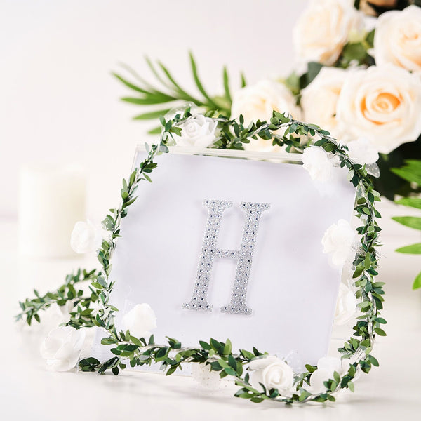 "4"" Silver Self-Adhesive Rhinestone Letter Stickers, Alphabet Stickers for DIY Crafts - H"