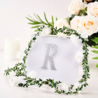 4Inch | Silver Self-Adhesive Rhinestone Letter Stickers, Alphabet Stickers for DIY Crafts - R