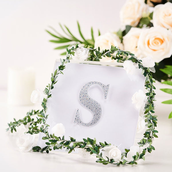 "4"" Silver Self-Adhesive Rhinestone Letter Stickers, Alphabet Stickers for DIY Crafts - S"