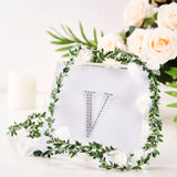 4Inch | Silver Self-Adhesive Rhinestone Letter Stickers, Alphabet Stickers for DIY Crafts - V