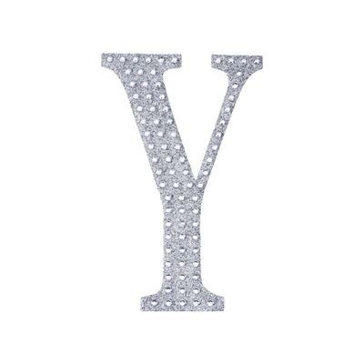 4Inch | Silver Self-Adhesive Rhinestone Letter Stickers, Alphabet Stickers for DIY Crafts - Y