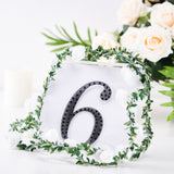 "6"" Black Self-Adhesive Rhinestone Number Stickers for DIY Crafts - 6"