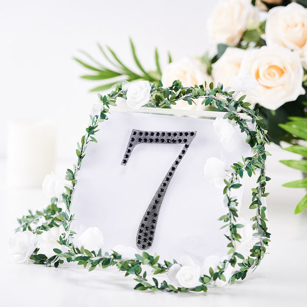 "6"" Black Self-Adhesive Rhinestone Number Stickers for DIY Crafts - 7"