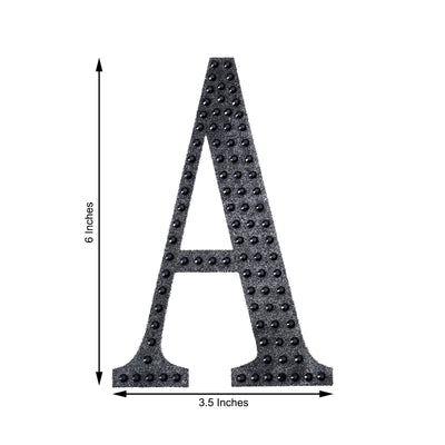 6 inch Black Self-Adhesive Rhinestone Letter Stickers, Alphabet Stickers for DIY Crafts - P