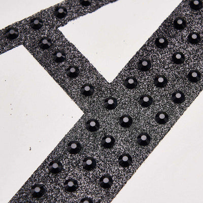 "6"" Black Self-Adhesive Rhinestone Letter Stickers, Alphabet Stickers for DIY Crafts - E"