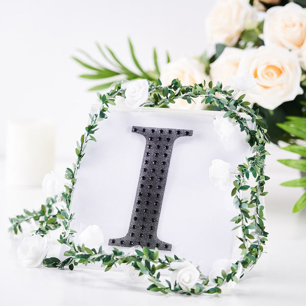 "6"" Black Self-Adhesive Rhinestone Letter Stickers, Alphabet Stickers for DIY Crafts - I"