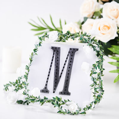 "6"" Black Self-Adhesive Rhinestone Letter Stickers, Alphabet Stickers for DIY Crafts - M"