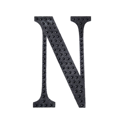 "6"" Black Self-Adhesive Rhinestone Letter Stickers, Alphabet Stickers for DIY Crafts - N"