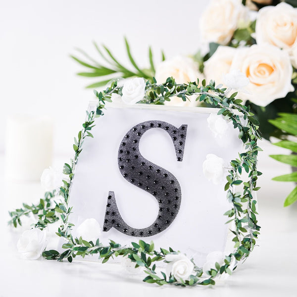 "6"" Black Self-Adhesive Rhinestone Letter Stickers, Alphabet Stickers for DIY Crafts - S"