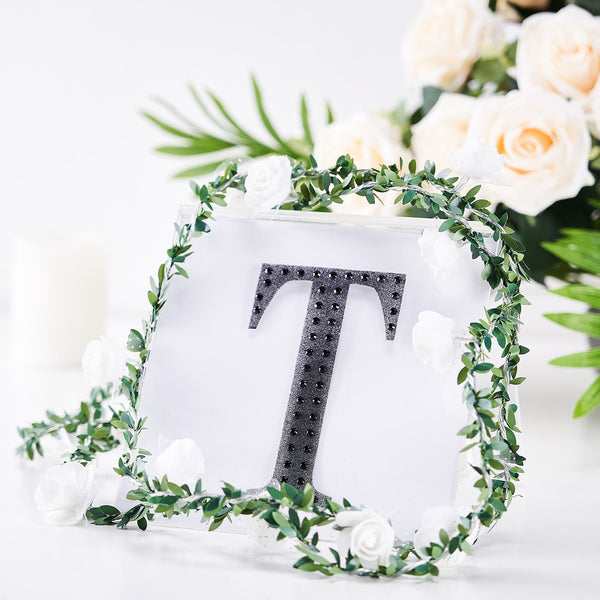 "6"" Black Self-Adhesive Rhinestone Letter Stickers, Alphabet Stickers for DIY Crafts - T"