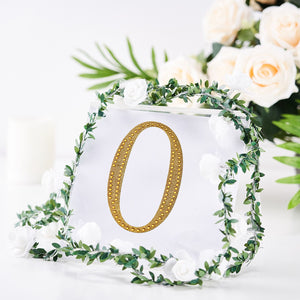 6 inch Gold Self-Adhesive Rhinestone Number Stickers for DIY Crafts - 0
