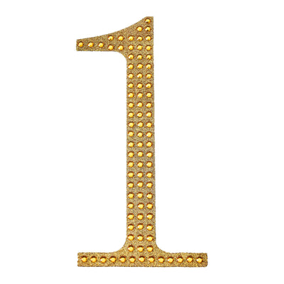 6 inch Gold Self-Adhesive Rhinestone Number Stickers for DIY Crafts - 1