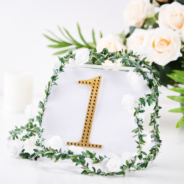 "6"" Gold Self-Adhesive Rhinestone Number Stickers for DIY Crafts - 1"