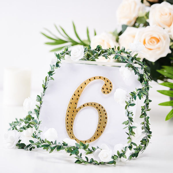 "6"" Gold Self-Adhesive Rhinestone Number Stickers for DIY Crafts - 6"