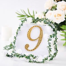 6 inch Gold Self-Adhesive Rhinestone Number Stickers for DIY Crafts - 9
