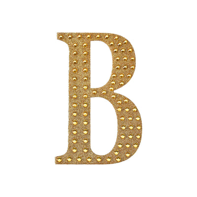 "6"" Gold Self-Adhesive Rhinestone Letter Stickers, Alphabet Stickers for DIY Crafts - B"
