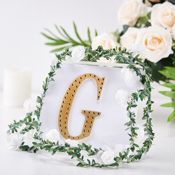 "6"" Gold Self-Adhesive Rhinestone Letter Stickers, Alphabet Stickers for DIY Crafts - G"