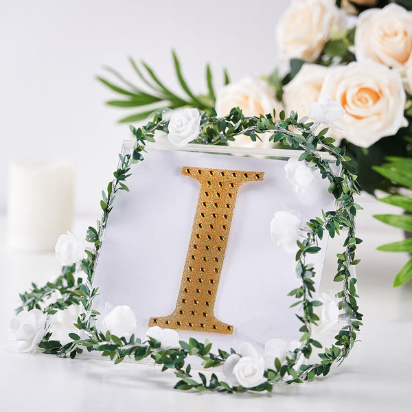 "6"" Gold Self-Adhesive Rhinestone Letter Stickers, Alphabet Stickers for DIY Crafts - I"