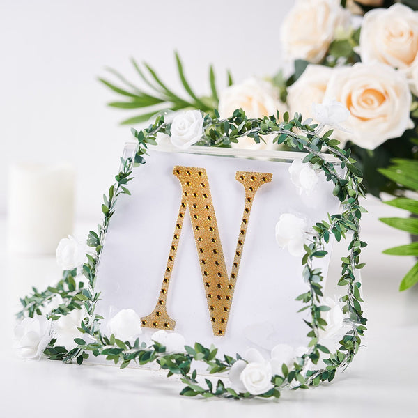 "6"" Gold Self-Adhesive Rhinestone Letter Stickers, Alphabet Stickers for DIY Crafts - N"