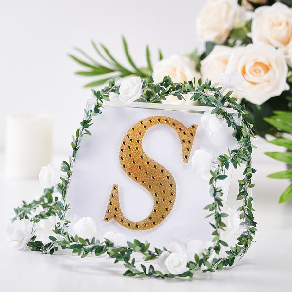 "6"" Gold Self-Adhesive Rhinestone Letter Stickers, Alphabet Stickers for DIY Crafts - S"